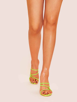Neon Lime Strappy Chunky Mule Heels A2785