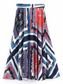 Scarf Print Flared Skirt A5929