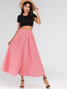 Gingham Print Button Front Maxi Skirt A5953