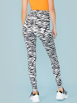 High Waist Zebra Print Leggings A7075
