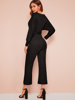 Solid Belted Wrap Jumpsuit A8836