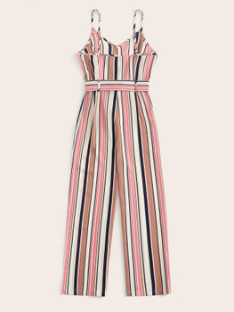 Striped Belted Cami Jumpsuit A9103