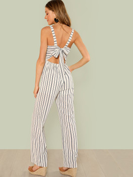 Stripe Wide Leg Jumpsuit with Self Tie Back A10236