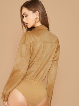 Faux Suede Button Front Long Sleeve Bodysuit A12529