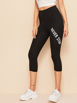 High Waist Letter Graphic Leggings A14291