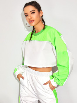 Contrast Panel Drop Shoulder Crop Sweatshirt A14358