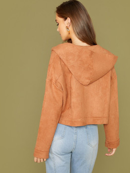 Button Front Hooded Faux Suede Jacket A17297