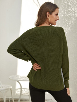 Slit Side Colorblock Ribbed Knit Sweater A21083