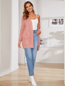 Pocket Front Solid Textured Sweater Coat A23069