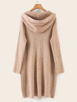 Patched Drawstring Hooded Sweater Dress A23080