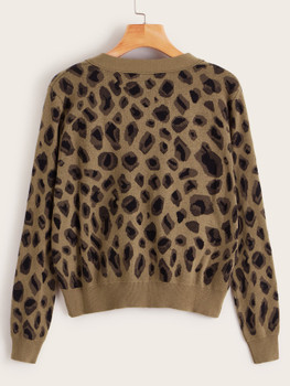 Leopard Pattern Button Front Cardigan A23088