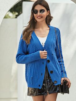 Buttoned Placket Ripped Cable Knit Cardigan A23204