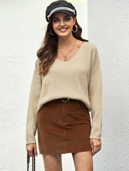 Drop Shoulder Ribbed Knit Sweater A23232