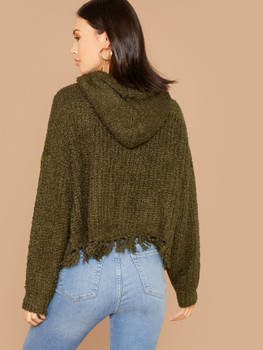 Frayed Edge Knitted Pullover Hooded Sweater A23235