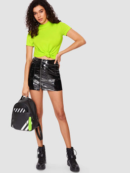 Mock Neck Rib-knit Form Fitted Neon Top A29419