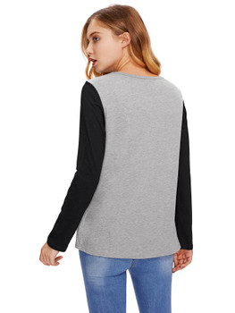 Contrast Sleeve Rose Appliques Tee A29467