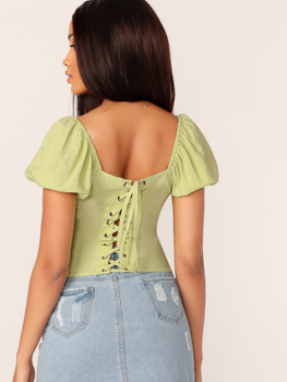 Puff Sleeve Lace Front Crop Blouse A30998