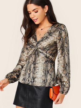 Snake Print Twist Front Long Sleeve Blouse A32719