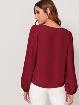 Buttoned Detail Lantern Sleeve Top A33387