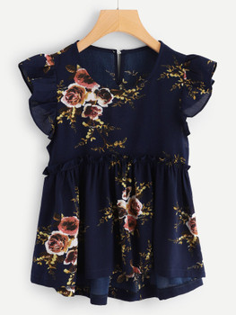 Frill Trim Floral Smock Blouse A33408