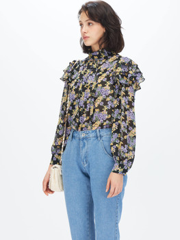 Tie Neck Layered Ruffle Floral Blouse A33410