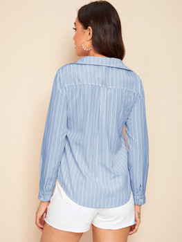 Roll Tab Sleeve Button Front Striped Blouse A33493