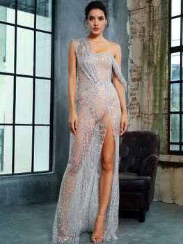 LOVE&LEMONADE Split Thigh Sheer Maxi Sequin Mesh Dress A33780
