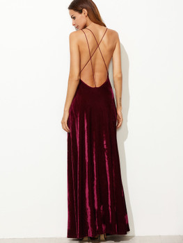 Strappy Back High Split Surplice Velvet Dress A35250