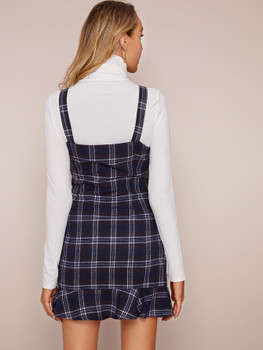 Plaid Flounce Hem Pinafore Dress A38096