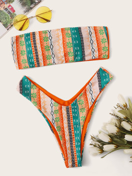 Geo Random Print Bandeau With High Cut Bikini A35550