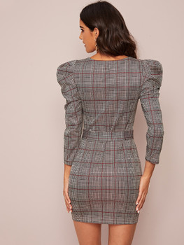 Glen Plaid Leg-of-mutton Sleeve Buckle Belted Bodycon Dress A36055