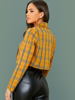 Lapel Collar Plaid Crop Blazer A36074