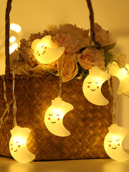 10pcs 1.5M Cute Moon Shaped Bulb String Light A37907
