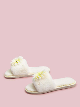 Applique Decor Open Toe Fluffy Slippers A39004