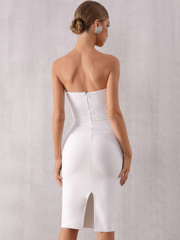 Adyce Contrast Panel Split Back Tube Dress A39106