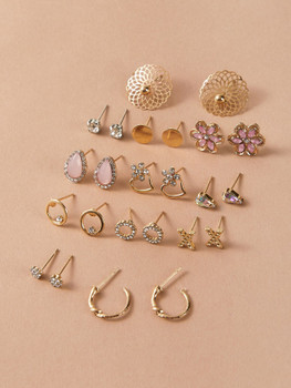 12pairs Rhinestone Engraved Heart Earrings Set
