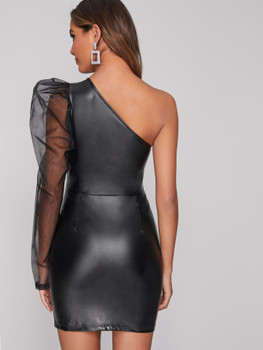 Mesh Leg-of-mutton Sleeve Faux Leather Bodycon Dress