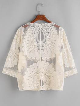 Beige Embroidered Sheer Mesh Top  A219