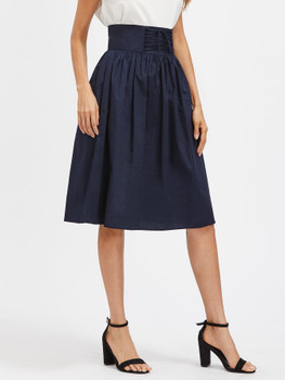 Lace Up Corset Flare Skirt