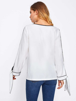 Slit Tied Cuff Tipping Detail Blouse  A2980