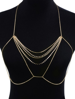 Rhinestone Decorated Chest Body Chain   	A933