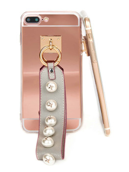Faux Pearl Embellished Strap Phone Case  	A1392