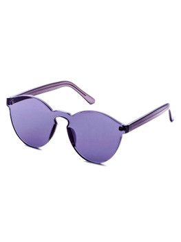 Purple Clear One Piece Retro Style Sunglasses  	A1399