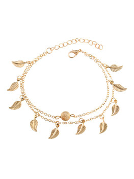 Metal Leaf Decorated Chain Anklet  	A101