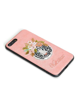 Tiger & Flower Embroidery iPhone Case  	A426