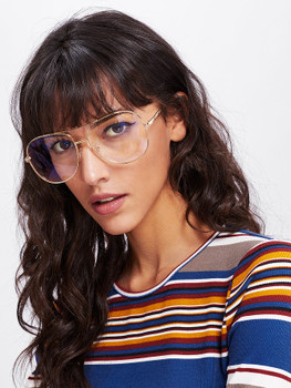 Double Bridge Metal Frame Glasses  	A442
