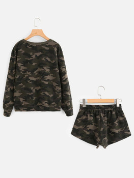 Camo Pullover And Raw Cut Sweatshorts Set  	A1140