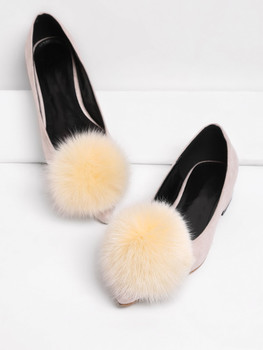 Pointed Toe Flats With Pom Pom   	A1204