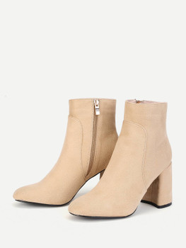 Block Heeled Side Zipper Ankle Boots  A553