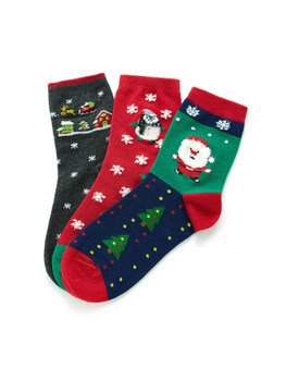 Christmas Snowflake & Penguin Pattern Socks 3pairsA117